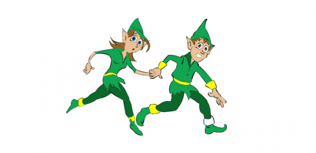 two elves learning their times tables with action and fun