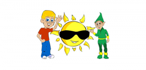 Child, sun with sunglasses and an elf happy and learning their times tables